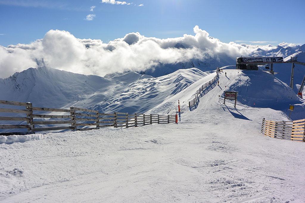 Der Ausblick vom Greitspitz im Skigebiet Ischgl